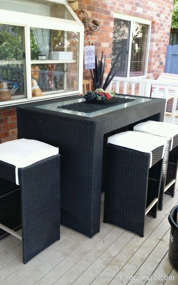 RATTAN WICKER 7 PIECE OUTDOOR BAR SET 6 stools & GLASS TABLE + XTRA GLASS TOP