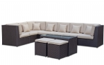 Outdoor Modular Corner Lounge Suite Table Ottomans Rattan Furniture Wicker Sofa